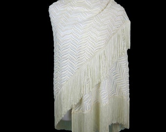 Women's White Woven Shawl Scarf Wrap With Fringe, Signed Sally Gee, Vintage 1970s