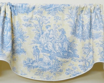 Waverly Country Life Vintage Blue and Yellow Toile - Window Valance / Lined and Corded Rod Pocket Scalloped Valance / French Country