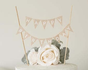 Happy Birthday banner, Linen Cake Toppers, Cake Banner, Rustic cake topper, photo props, birthday party, cake decorations,shabby chic