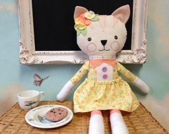 Cat Doll / Handmade Cat Ragdoll / Kitty Cat / Stuffed Animal / Handmade Stuffed Animals / Plushies / Rag Dolls / Stuffed Cat Doll