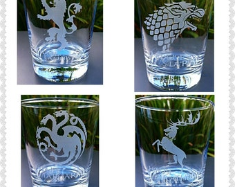 Set of 4 Engraved Game of Thrones Tumbler Glasses