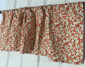 strawberry red and yellow kitchen curtain valance