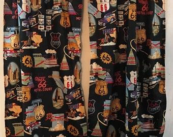 Black Route 66 travel curtain panels choose size