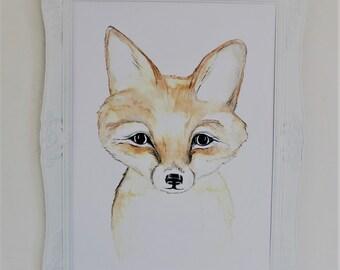 fox art print, fox print, , fox cub watercolor, woodland art, woodland art, red fox print, fox cub  print, fox, fox nursery
