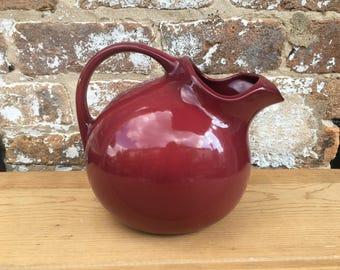 Vintage Burgundy Pottery Pitcher