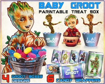 Baby Groot, Guardians of the galaxy party, birthday, I am Groot, we are Groot, Groot printable treat box, candy wrappers, cupcake wrappers