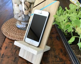 Smart phone stand!  Desktop docking station. iPhone, Samsung Stand, Desk Accessories! Office Decor! Choose your color,Unfinished or Finished