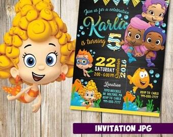 Bubble Guppies Invitation, Bubble Guppies Party, Bubble Guppies Birthday Invitation, Girl Bubble Guppies Invitation