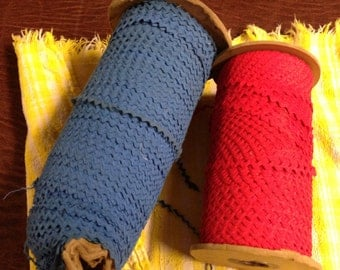 "1/4"" RED or BLUE Baby Rick Rack Flat Lace Trim 10 yards NOS"