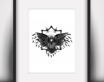 Game of Thrones Three Eyed Raven Art Print (A5 / 5.8 x 8.3 in)