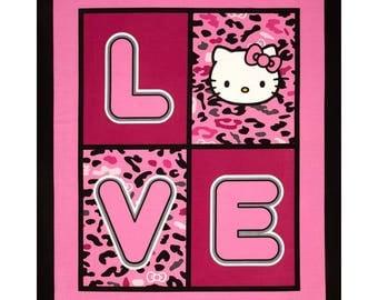 "New Hello Kitty Cheetah Love 100% cotton 44"" x 35""  fabric panel  (SC63)"