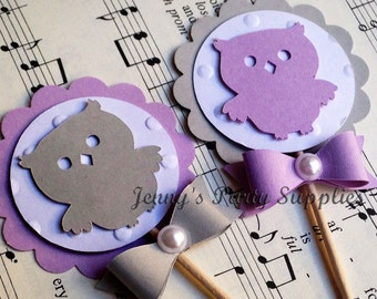 Set of 12 Lavender and Gray Owl Cupcake Toppers, Owl Baby Shower Toppers, Owl Birthday Party Picks, Grey Owl Toppers