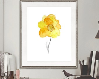 Watercolor Yellow Flower Art Print - Watercolor Painting Flower, Flower Art, Watercolor Art Print - 11