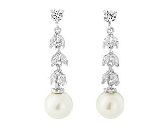 Bridal Earrings, Pearl Long Drop Earrings, Wedding Earrings, Cubic Zirconia, Art Deco Earrings, Bridal Earrings, Sparkly Earrings, UK Seller