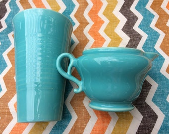 Franciscan El Patio Turquoise Iced Tea Tumbler and Creamer