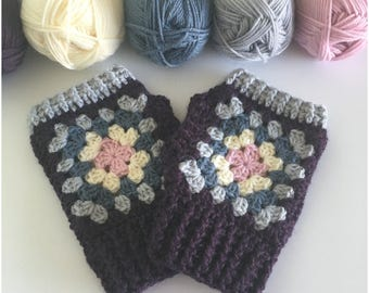 Crochet Wrist Warmers ,Granny Square,Fingerless Gloves, Crochet Gloves ,Fingerless Mittens ,Mothers Day gift,handmade gift.