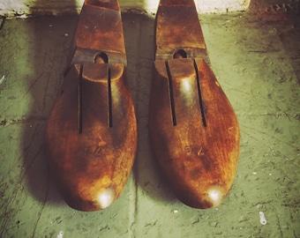 Vintage Wood Shoe Trees 60's Shoe Stretchers Dark Wood Rustic Decor Item