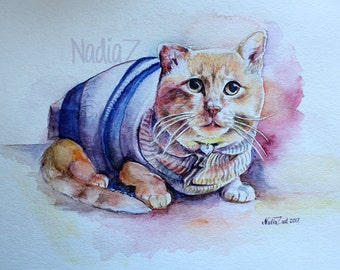 Custom Watercolor Cat Portrait, Pet Portrait from Photo, Custom Pet Art
