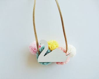 SWAN tulle pom pom childrens necklace