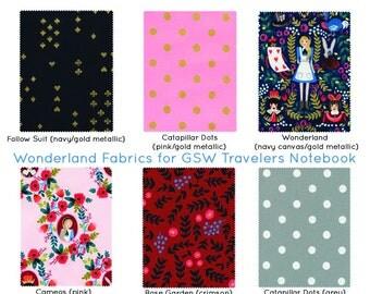 Rifle Paper Co. Fauxdori Cover. Fauxdori. Journal Cover. Fabric Traveler's Notebook. Fabric Midori. Alice Wonderland