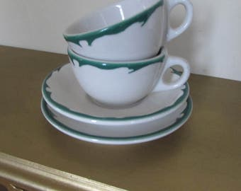 Set of Two: Buffalo China Restaurant Ware with 2 cups and 2 saucers