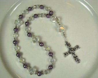 Anglican Prayer Beads-Rosary-Purple-Clear Crystal-with Silver Cross