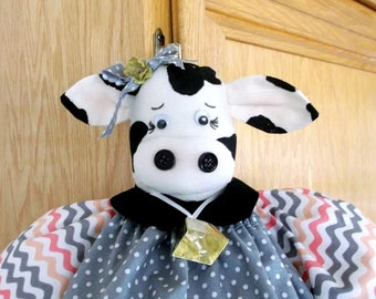 Plastic Bag Holder Cow, Chevron Bag Dispenser, Cow Kitchen, Grocery Bag Organizer,  Animal Kitchen Decor, Supermarket Bag Keeper