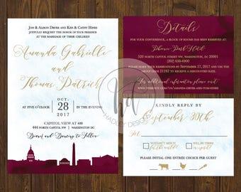 Classic Wedding Invitation, Elegant Wedding Invitation, Watercolor Wedding Invitation, Wedding Invite, Modern Wedding Invitation