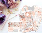 Rose Gold Marble Horizontal Weekly Kit-- Matte Planner Stickers