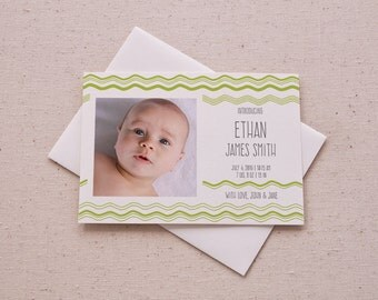 Photo Baby Announcement - Lime Green Wavy Stripes