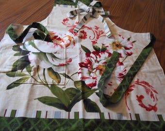 Beautiful Peonies  Apron, full bib