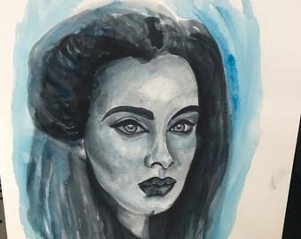 Lady in Blues (Unframed) watercolour art, original, lady portrait, face art, monochrome painting, unique art, shakira bell art,
