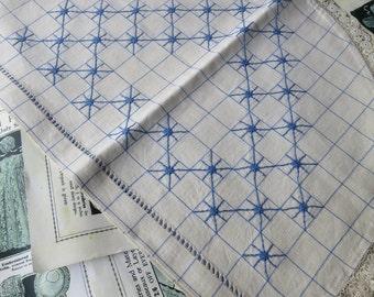 Blue Checked & Hand Embroidered Art Deco Irish Linen Tea Cosy