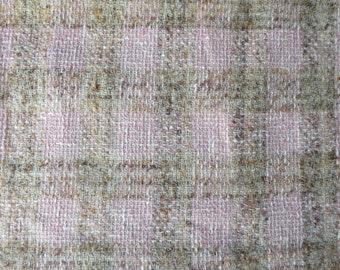 Vintage Linton Tweed Wool Fabric Length-  Pink & Brown Textured Check- 290 x 150 cm