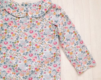 PEARL Handmade Liberty Print LONG Sleeve Blouse with Peter Pan Collar