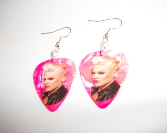 Pink the artist on Hot Pink Guitar Pick Earrings Silver Plated findings