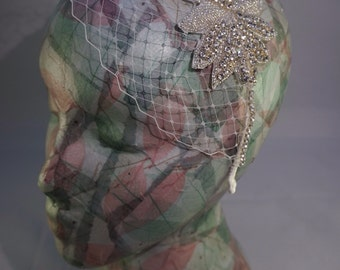Birdcage veil with diamante trim and applique