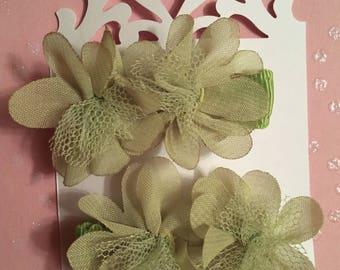 Light Green Flower Hair Clips
