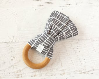 Baby Wooden Teething Ring-Charcoal Grey and White-Fabric and Wooden Teething Ring with Crinkle Material Inside- Sensory Toy