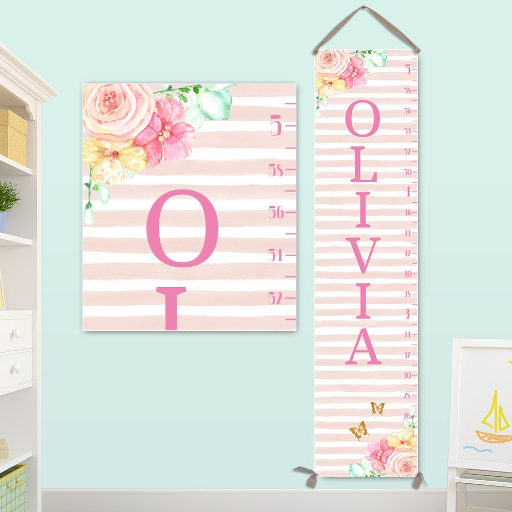Pink growth chart canvas personalized growth chart with pink jolieprints nvjuhfo Choice Image