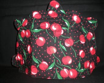 Quilted Tea Cozy - Cherries on black