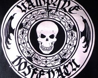 Vampire T-Shirt, Original art t-shirt, black t-shirt with white skull, Monster T-Shirt, Vampire TShirt, shirt design by Marcel Dion