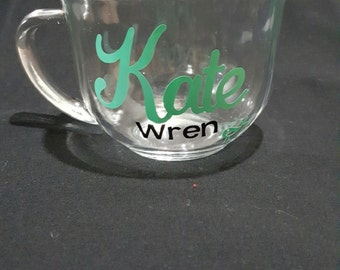 Personalized clear coffee mug