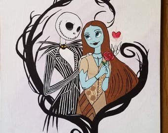 Jack and Sally - The Nightmare Before Christmas Artwork - 11x14 inch