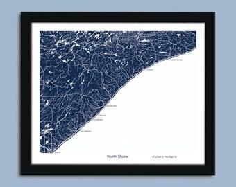 North Shore map, North shore map art, North Shore MN wall art poster, Lake Superior decorative map