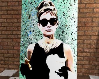 Stunning Audrey Hepburn Original Handmade Spray Painting Onto Canvas