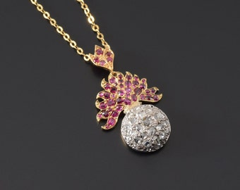 18k Edwarian Diamond & Ruby pendant