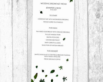 Pretty Minimalist Green Leaf Menu - Customised Menu for Weddings, Events and Parties - Giclee Printed Card Menus and Digital Printable