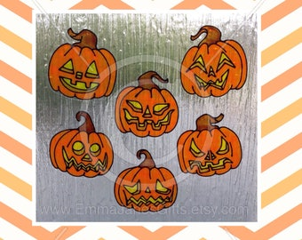 Pumpkin Halloween window cling set of 6 for glass & window areas, reusable faux stained glass effect decal, static cling suncatcher decals