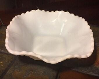Vintage White Milk Glass Candy Dish Ruffled Edges Diamond Pattern